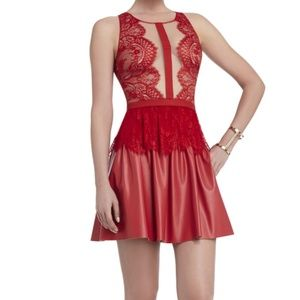 BCBGMAXAZRIA Layton Lace And Faux-Leather Dress